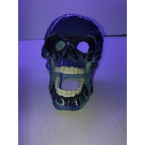 Flaming Fire Skull Blue 3.5in