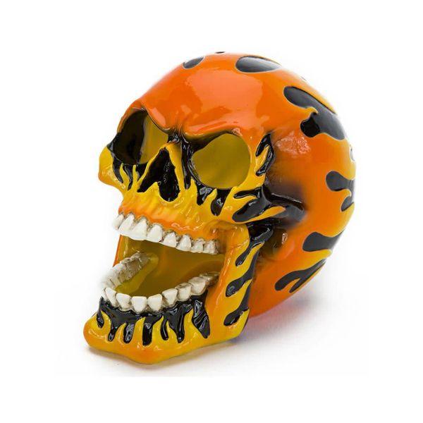 Penn Plax Flaming Fire Skull Orange 5in