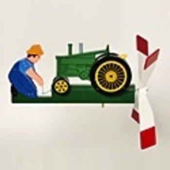 WALSTON WOODCRAFT ANTIQUE<br />GREEN TRACTOR WHIRLYGIG