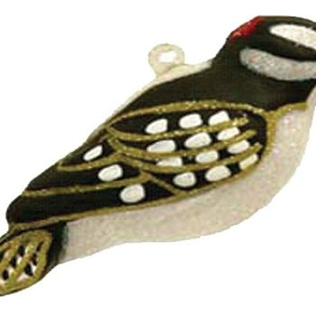 COBANE DOWNY WOODPECKER GLASS ORNAMENT COBANEC345