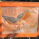 "- GREG HENTZI FRAMED COPPER ETCHING ""HERON ON THE MARSH"""