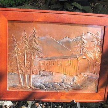 "GREG HENTZI FRAMED COPPER ETCHING ""COVERED BRIDGE"""