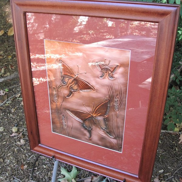 "- GREG HENTZI FRAMED COPPER ETCHING ""WHEAT & BUTTERFLIES"""