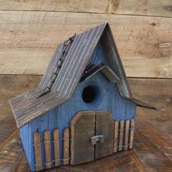 "- NATURE CREATIONS RUSTIC ""A-FRAME"" HANGING WREN HOUSE W/TIN ROOF"