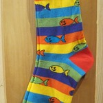 FOR BARE FEET SOCKS HAPPY FISH WITH STRIPES MEDIUM