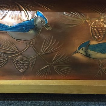 "- GREG HENTZI COPPER ETCHED MAILBOX ""BLUE JAY"""