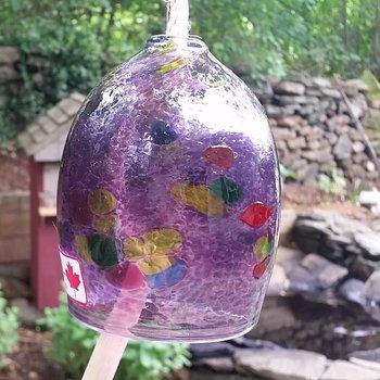 "- KITRAS ART GLASS CALICO BELL PURPLE 4"""