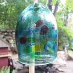 - KITRAS ART GLASS CALICO BELL TEAL 4""