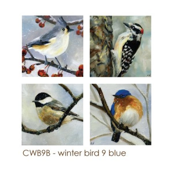 - ART BY ALYSSA COASTERS SET  WINTER BIRD 9 BLUE