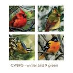 - ART BY ALYSSA COASTERS SET  WINTER BIRD 9 GREEN