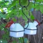 PARASOL MILK GLASS BOUQUET CLASSIC 2 HUMMINGBIRD FEEDER