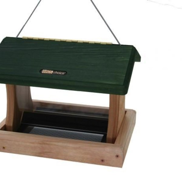 - BIRDS CHOICE 3QT CEDAR 2-SIDED HOPPER FEEDER HANG OR POST MOUNT GREEN ROOF