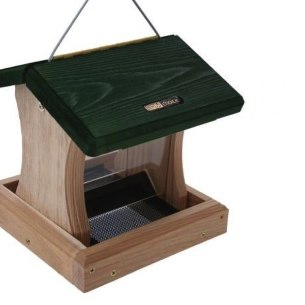 - BIRDS CHOICE 1.5QT. CEDAR 2-SIDE HOPPER FEEDER HANG OR POST MOUNT GREEN ROOF