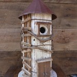 "- NATURE CREATIONS RUSTIC ""SILO"" BIRD HOUSE WHITE W/TIN ROOF"