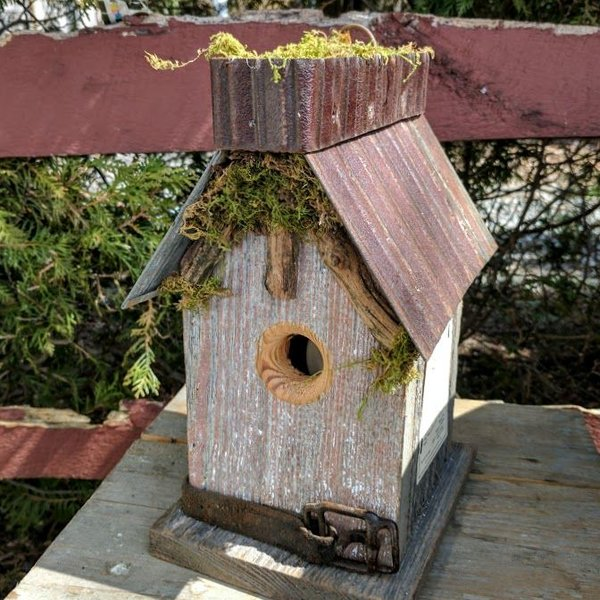 - NATURE CREATIONS RUSTIC NATURAL WOOD WREN HOUSE W/TIN ROOF AND MOSS