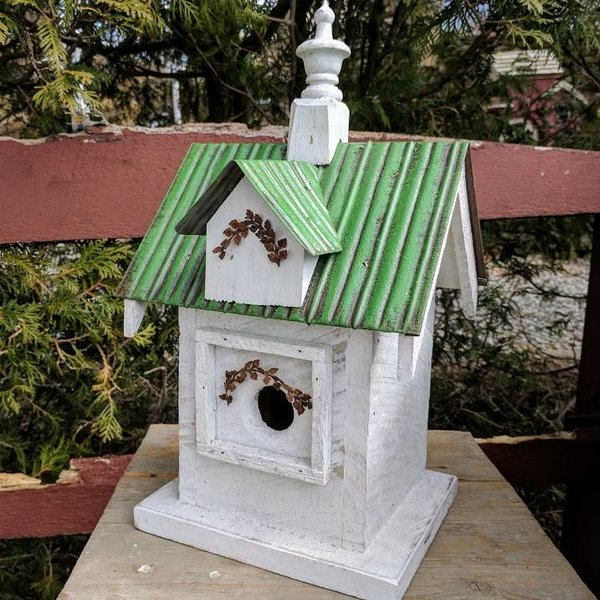 - NATURE CREATIONS BARN WOOD BLUEBIRD HOUSE WHITE W/GREEN TIN ROOF
