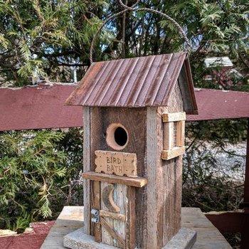 "- N.C. RUSTIC  HANGING ""BIRD BATH"" HOUSE NATURAL"