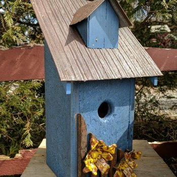 - N.C. RUSTIC BLUEBIRD HOUSE BLUE W/MUSTARD FLOWERS