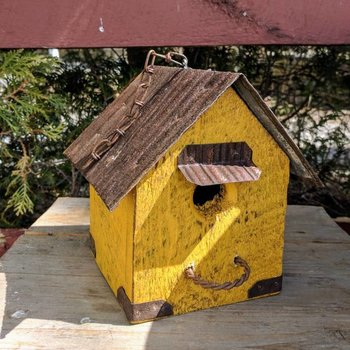 - N.C. RUSTIC HANGING WREN HOUSE W/TIN ROOF MUSTARD