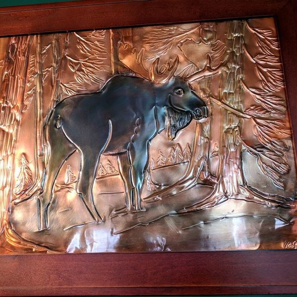 "- GREG HENTZI FRAMED COPPER ETCHING ""BULL MOOSE IN PINE"""