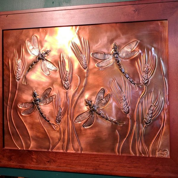 "GREG HENTZI FRAMED COPPER ETCH. "" WHEAT & DRAGONFLIES"""