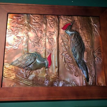 "- G.H. FRAMED COPPER ETCHING ""WOODPECKERS"""