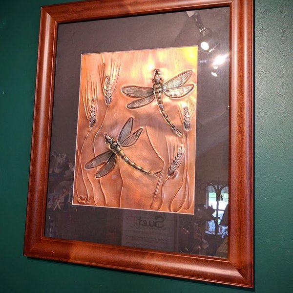 "- GREG HENTZI FRAMED COPPER ETCHING ""WHEAT & DRAGONFLIES"""