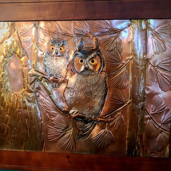 "- GREG HENTZI FRAMED COPPER ETCHING ""TWO OWLS"""