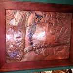 "- GREG HENTZI FRAMED COPPER ETCHING ""GREAT HORNED OWL"""