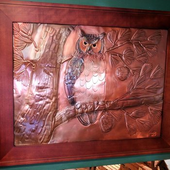 "- G.H. FRAMED COPPER ETCHING ""GREAT HORNED OWL"""