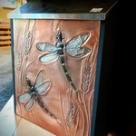 "- GREG HENTZI COPPER ETCHED WALL MOUNT MAILBOX ""DRAGONFLY & WHEAT"""