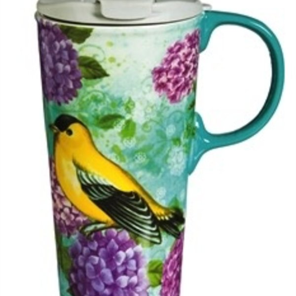 - EVERGREEN GOLDFINCH TRIO CERAMIC TRAVEL MUG