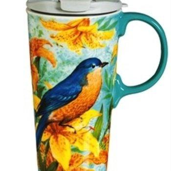- EVERGREEN BLUEBIRDS TRIO CERAMIC TRAVEL MUG