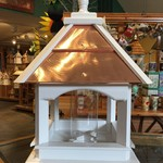 -WOODY'S  STAFFORD PAINTED COPPER TOP BIRD FEEDER