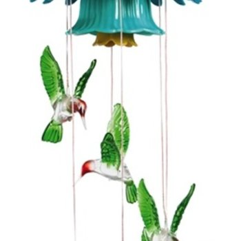 - EVERGREEN HUMMINGBIRD SOLAR MOBILE W/FLOWER TOP
