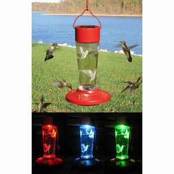 - S.E. SOLAR LIGHT-UP HUMMINGBIRD FEEDER