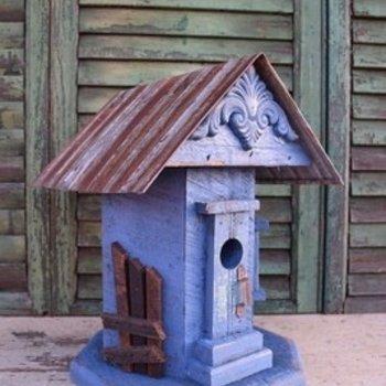 - N.C. BARN WOOD WHIMSICAL HOUSE BLUE W/TIN ROOF