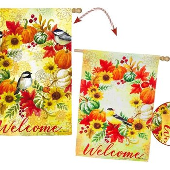 - EVERGREEN FALL WREATH AND CHICKADEES ESTATE FLAG
