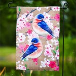 - EVERGREEN BIRDS ON FLORAL BRANCH GARDEN BURLAP FLAG