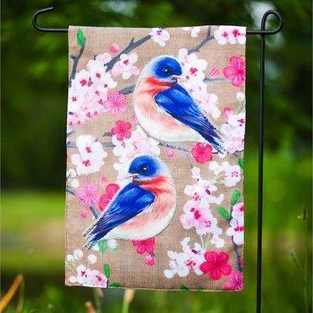 - EVERGREEN BIRDS ON FLORAL BRANCH GARDEN BURLAP FLAG