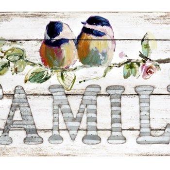 "- GANZ ""FAMILY"" WATERCOLOR BIRDS WALL PLAQUE"