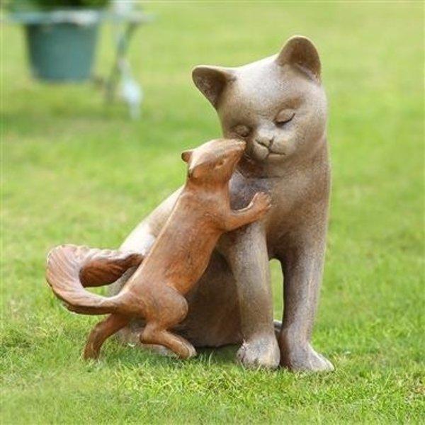 Delicieux SPI STEALING A KISS GARDEN STATUE CAT U0026 SQUIRREL