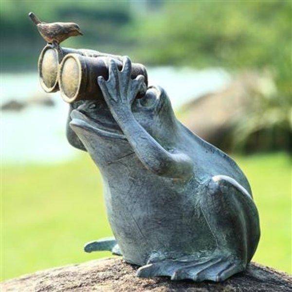 - SPI FROG SPECTATOR WITH BIRD GARDEN SCULPTURE