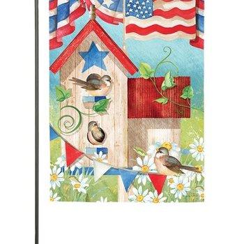 - EVERGREEN PATRIOTIC BIRDHOUSE GARDEN SATIN FLAG