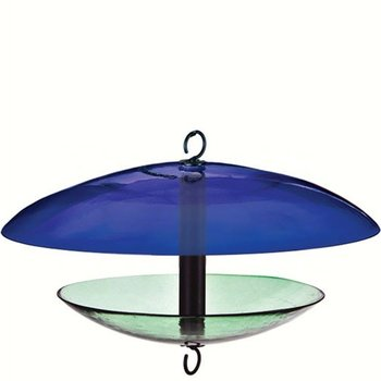 - COURONNE CO GLASS FEEDER WITH WEATHER DOME COBALT