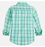 Mayoral Long Sleeve Plaid Button Up