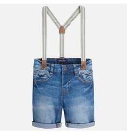 Mayoral Cuffed Denim Shorts with Suspenders