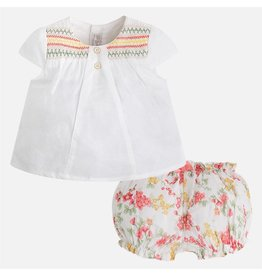 Mayoral Embroidered Blouse and Bloomers Set