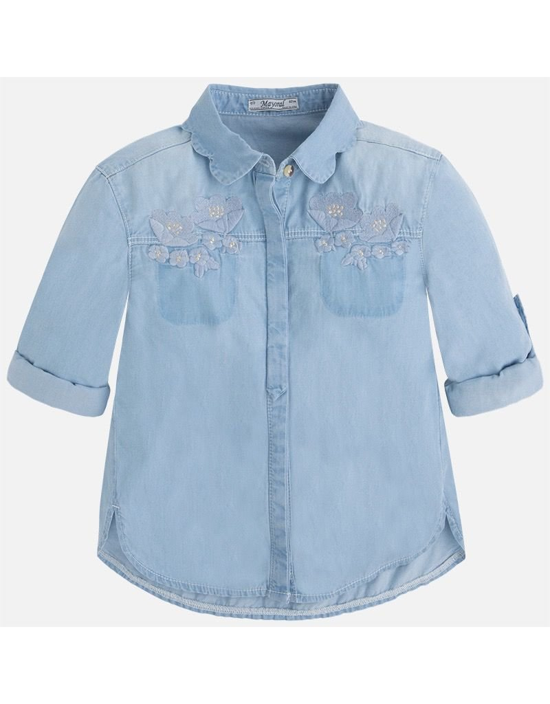 Mayoral Embroidered Denim Button Up top