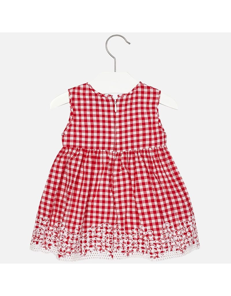 Mayoral Embroidered Gingham Dress